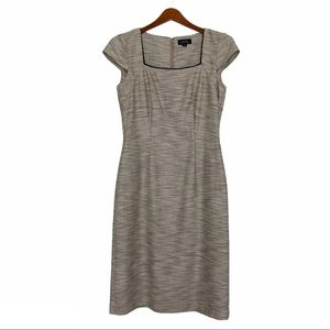 Tahari tweed square neck lined Dress cap sleeve 4
